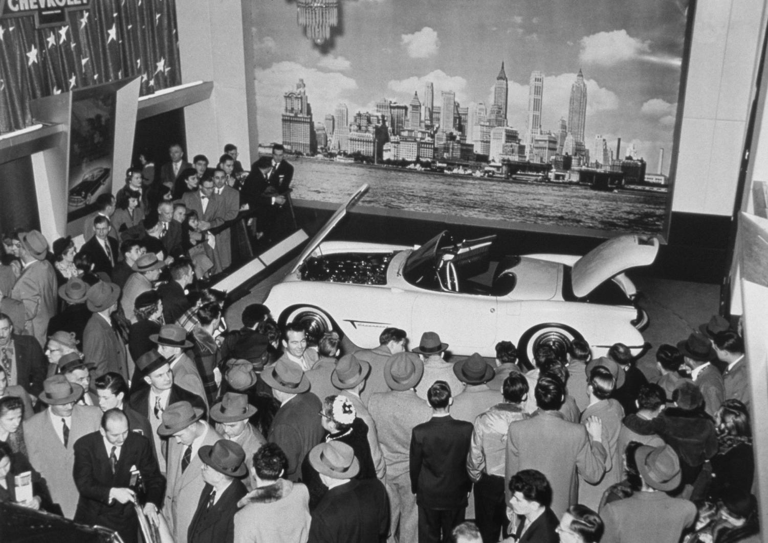 The first Chevrolet Corvette on display at the 1953 General Motors Motorama car show. Today, production of the newest C8 Corvette has been delayed due to the GM strike.