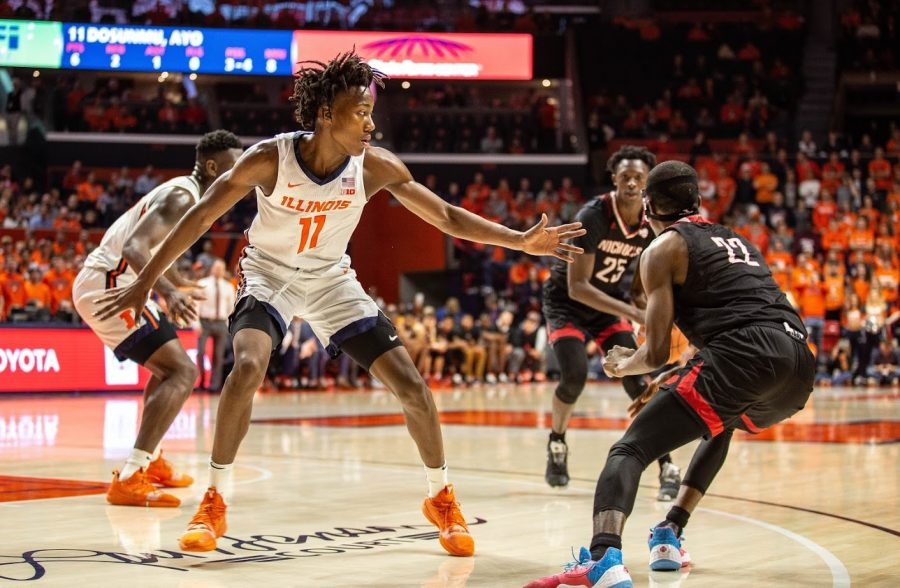 Ayo Dosunmu on defense vs Nicholls State on Tuesday at the State Farm Center.