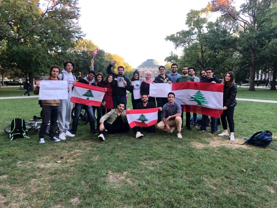 Lebanese+students+show+solidarity+with+protesters+in+Lebanon+on+the+Main+Quad+on+Oct.+18.+The+protests+reflect+government+corruption%2C+and+Lebanese+students+at+the+University+wish+to+support+those+protesting+to+advocate+for+a+better+future+for+their+country.