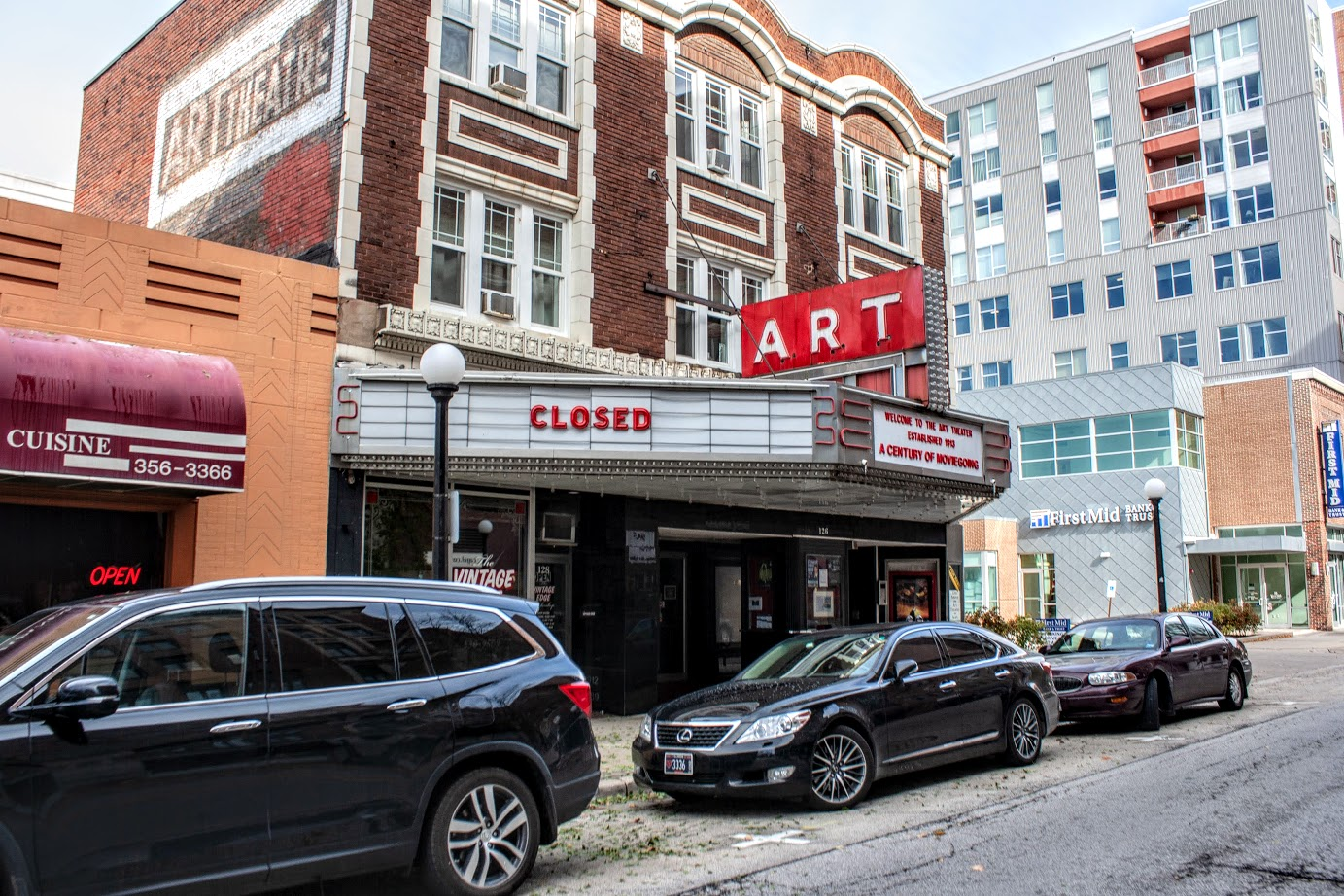"The Art Theater's sign reads ""closed"" in downtown Champaign. The theater officially closed in October after the Art Film Foundation filed for bankruptcy. The bankruptcy hearings started Thursday."