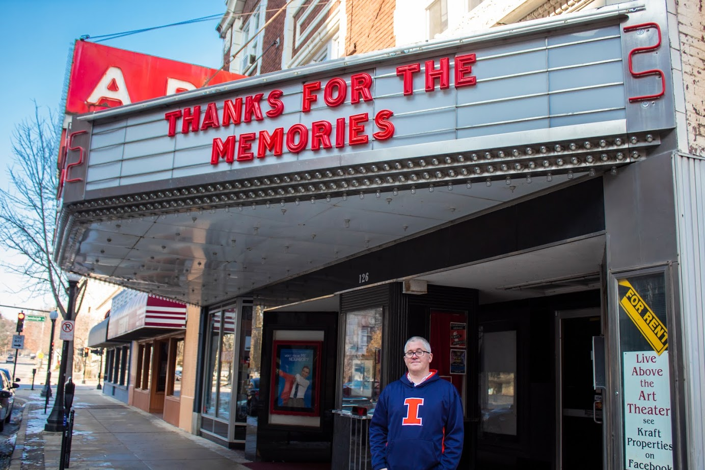 Landlord David Kraft stands outside of The Art Theater in Champaign on Saturday. The Art Film Foundation officially filed bankruptcy last week closely following the announcements of The Art Theater's closing.
