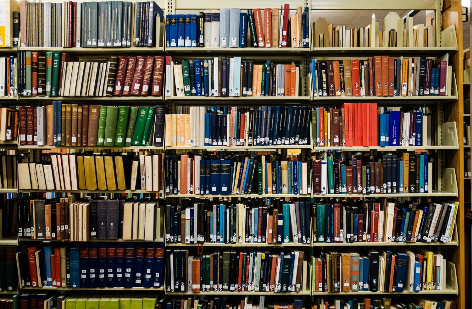 Books sit on the shelves at the Literatures and Languages Library on Tuesday. The University currently holds the title of having the second-largest research library in terms of volume and is home to the second-largest book collection in America, with over 13 million books, manuscripts and papers.