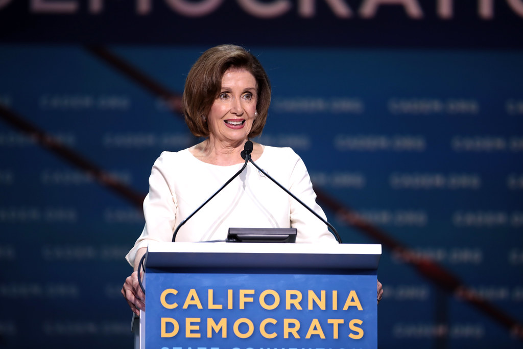 "Speaker of the House Nancy Pelosi speaks with attendees at the 2019 California Democratic Party State Convention at the George R. Moscone Convention Center in San Francisco, California on June 1. Columnist Andrew urges ""The Squad"" to recognize Pelosi's mandate to lead the Democratic party."