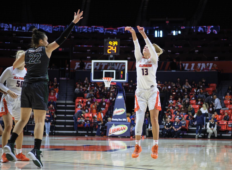 Petra Holešínská shoots a three-pointer against Chicago State at the State Farm Center on Nov. 5. Following an anterior cruciate ligament tear, Holešínská has already stood out as a major contributor for the Illini.