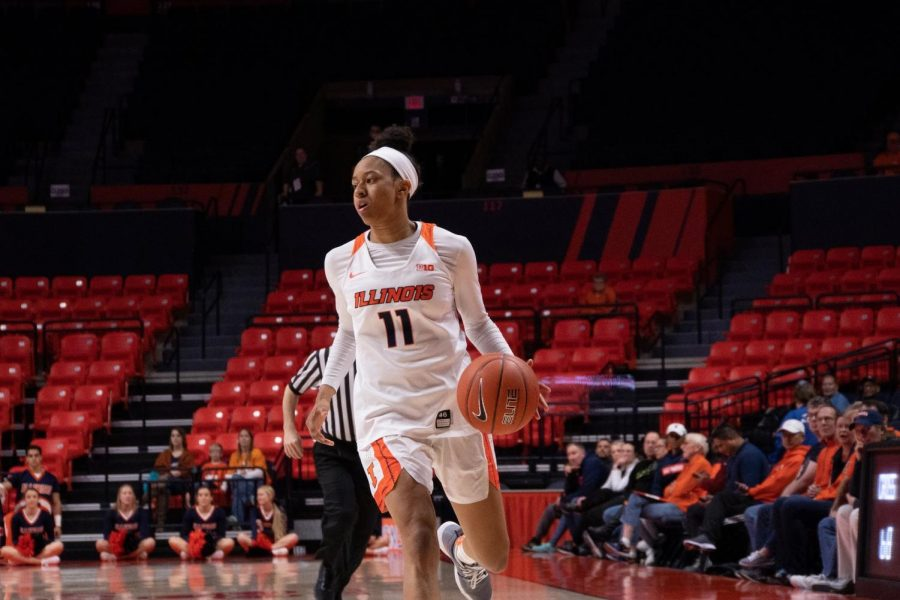 Jada Peebles runs down the court at the State Farm Center on Saturday.