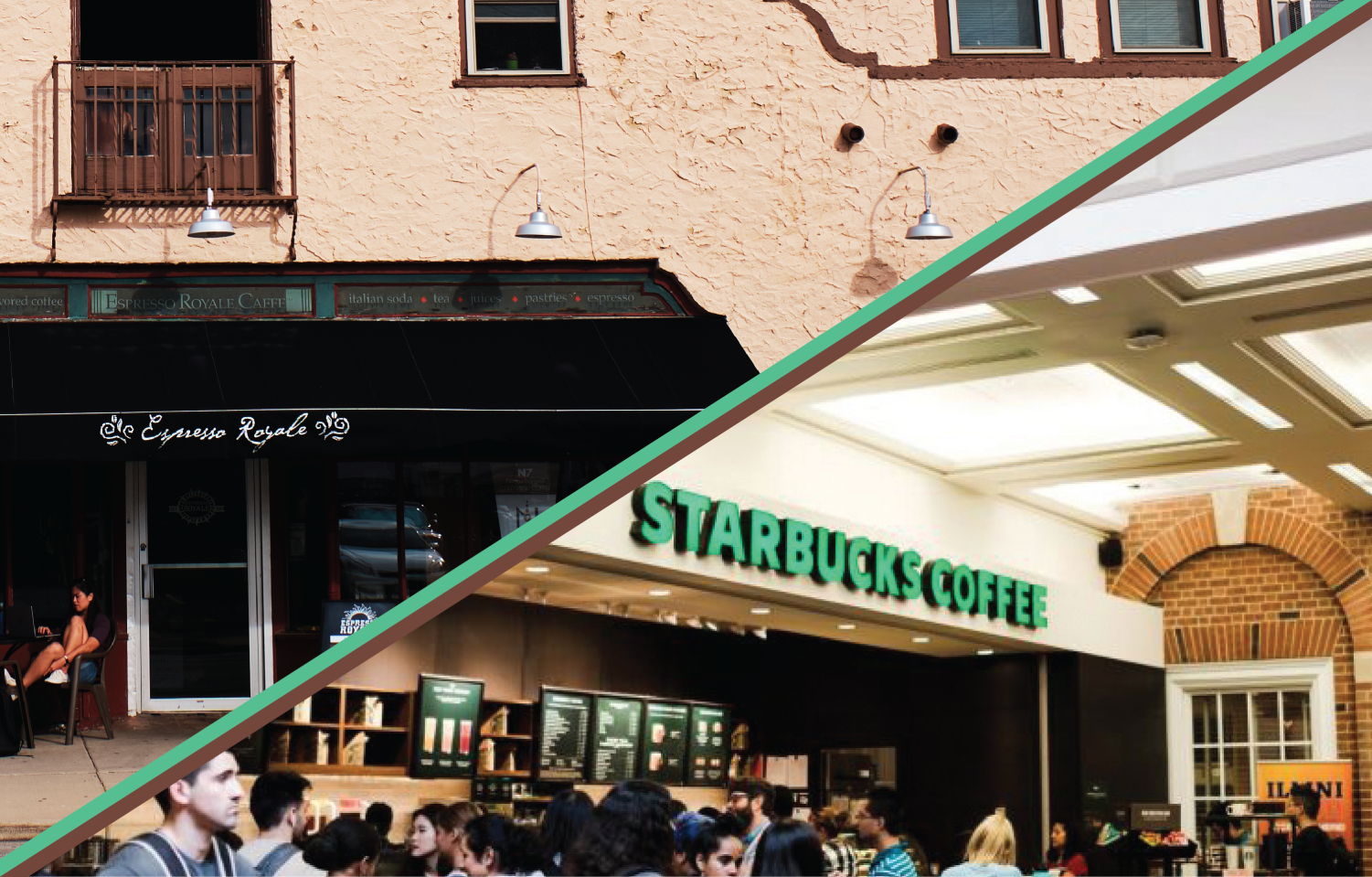 Above left: People sit in front entrance to the Espresso Royale on Goodwin on Sept. 23. Above right: The Starbucks inside the Union experiencing a rush hour on Aug 27.