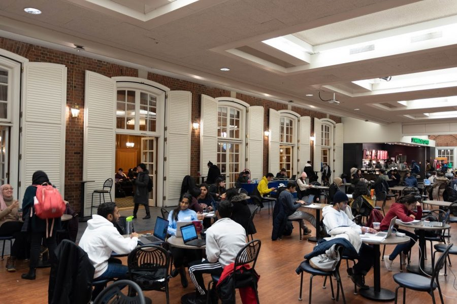 Students hanging out with their at the Illini Union's Courtyard Cafe on Monday.