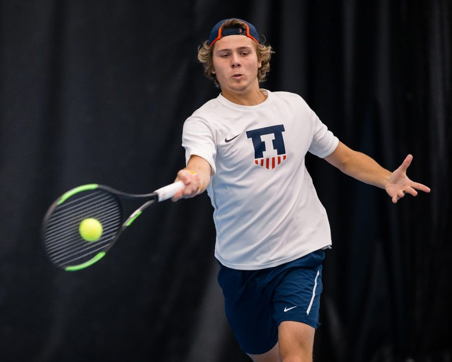 Illinois%27+Aleks+Kovacevic+returns+the+ball+during+the+match+against+Penn+State+at+Atkins+Tennis+Center+on+Friday%2C+April+12%2C+2019.+The+Illini+won+4-3.