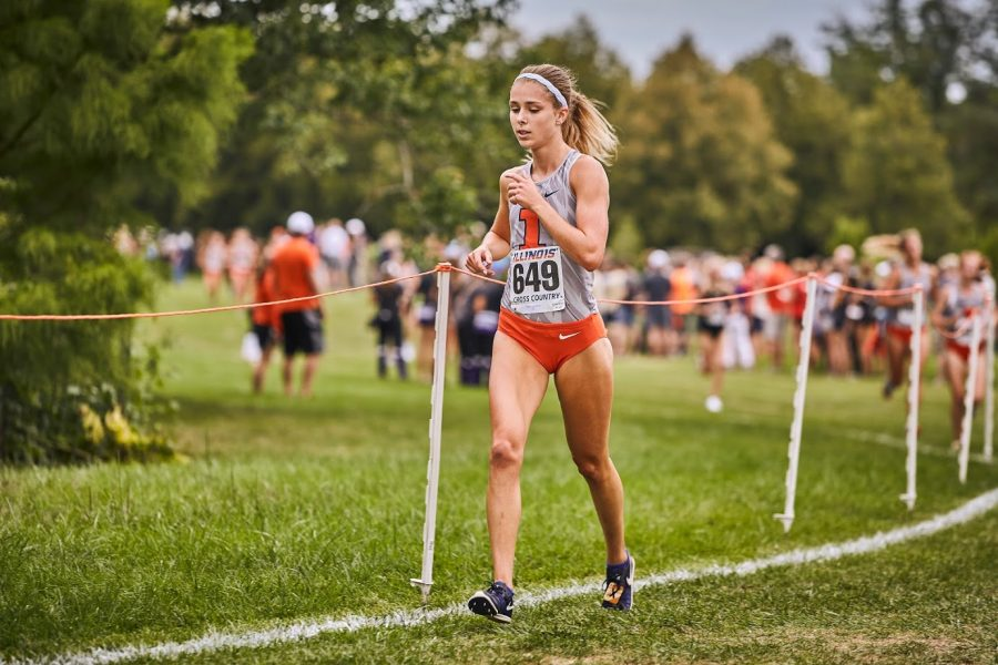 Allison McGrath runs at the Illini Open at the UI Arboretum on Aug. 30.
