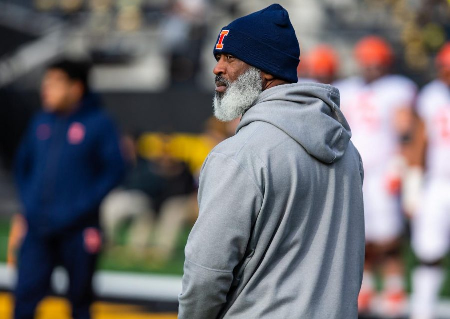 Head coach Lovie Smith stands on the sidelines during Illinois' game against Iowa on Nov. 23. Saturday, Illinois fell to Northwestern 29-10 on Senior Day, closing out the team's regular season. Captured at Kinnick Stadium on 23 Nov. 2019 by Jonathan Bonaguro.