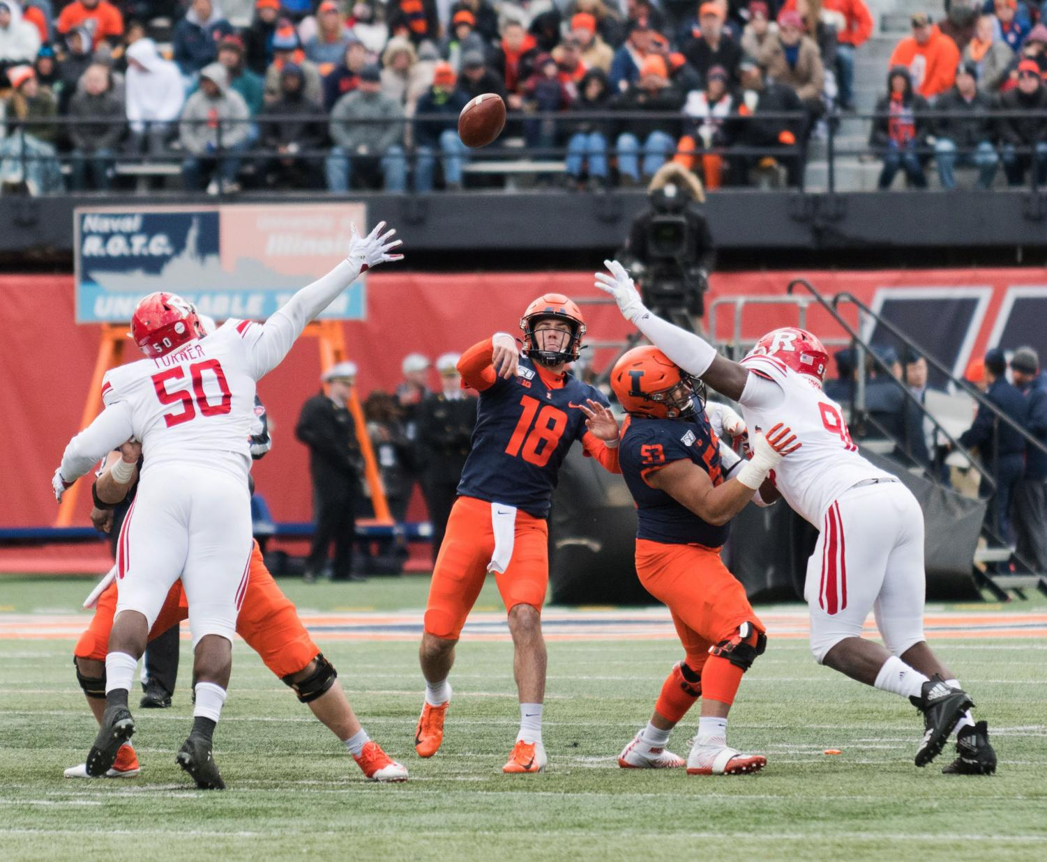 llinois quarterback Brandon Peters launches a pass during the game against Rutgers. The Illini were tied 10-10 at halftime, but bested the Scarlet Knights 38-10. Jonathan Bonaguro The Daily Illini.