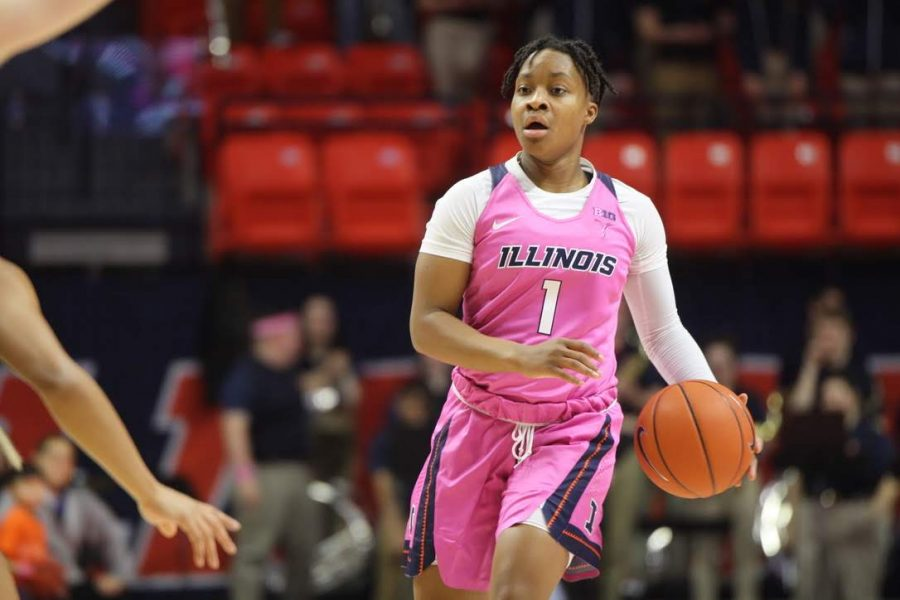 Brandi Beasley runs up the court at State Farm Center on Feb. 17. The women's basketball team will open their season on Tuesday, hosting Chicago State.