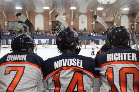 Illinois forwards Stephen Quinn (7), Neil Novosel (14) and Drew Richter (10) watch their teammates during the Illinois vs. Lindenwood game at the University of Illinois Ice Arena on Jan. 18. Illinois lost 2-1.
