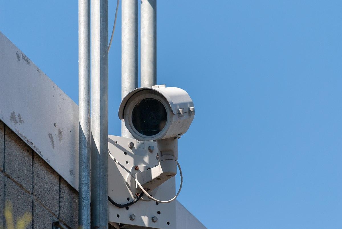 Security camera on the Mount Vernon, Washington river walk.