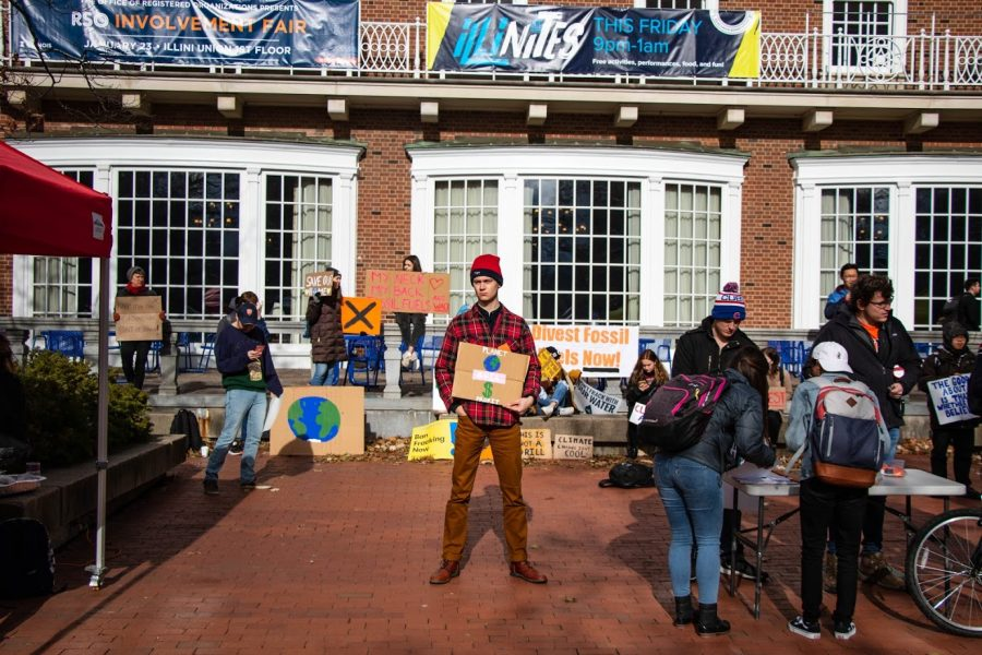 Students gather in front of the Illini Union to for the Climate Strike protest on Friday afternoon. There have been two climate strikes within the past semester.