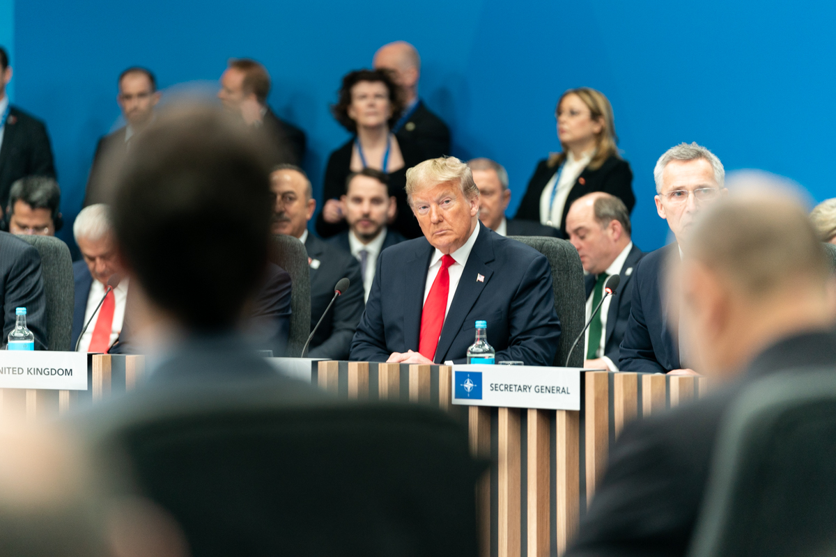 President Donald J. Trump attends the North Atlantic Treaty Organization plenary session Wednesday, Dec. 4, 2019, with NATO Secretary General Jens Stoltenberg and the British Prime Minister Boris Johnson at the 70th anniversary of NATO in Watford, Hertfordshire outside London.