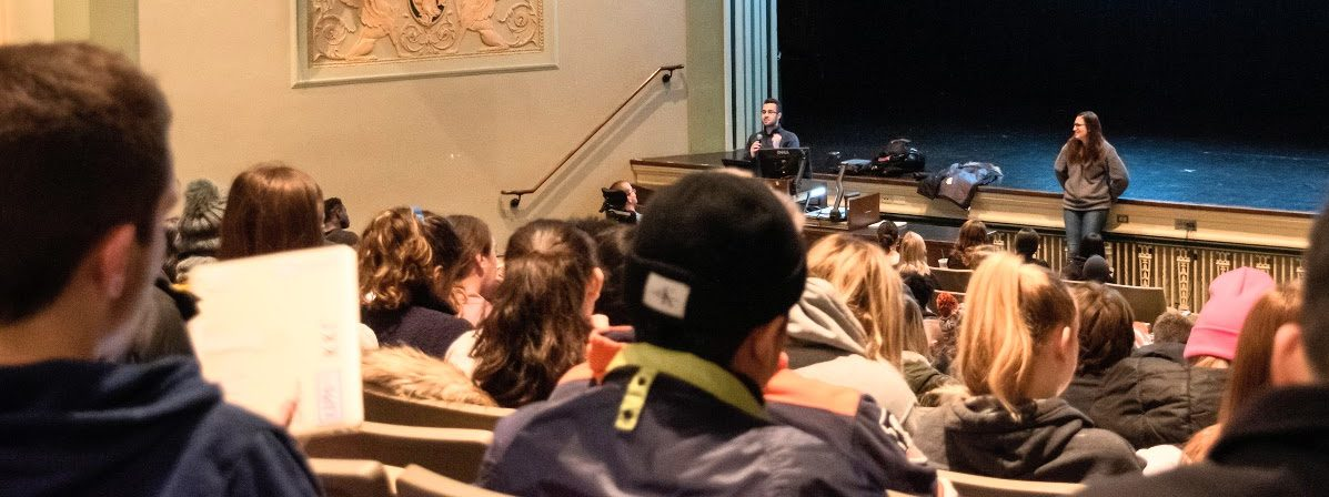 Students in a statistics class learn in a lecture at the Lincoln Hall Theater on Tuesday afternoon. Multiple advanced level statistics classes have been filled.