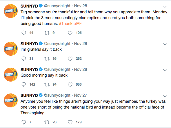 SunnyD tweets as if it was a person. Columnist Dylan urges people to recognize corporate personification on social media platforms and highlights the negative impact of artificial personhood.