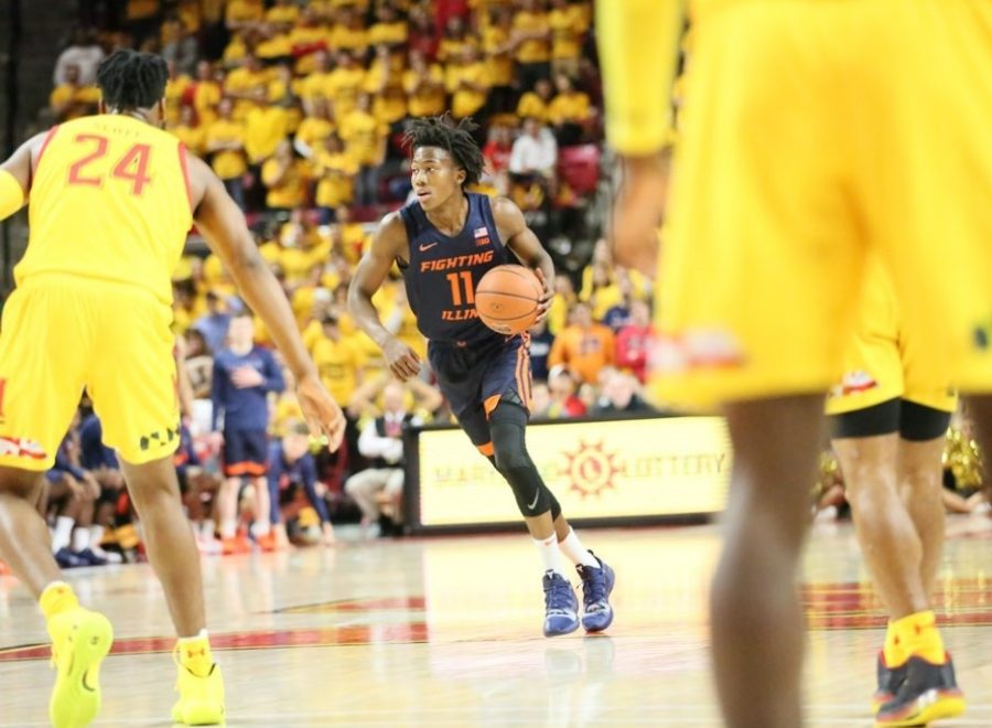 Sophomore+guard+Ayo+Dosunmu+dribbles+the+ball+down+the+court+during+Illinois%E2%80%99+game+in+Maryland+at+College+Park%2C+Maryland.+The+Illini+lost+59-58+in+the+final+two+seconds+on+Saturday.