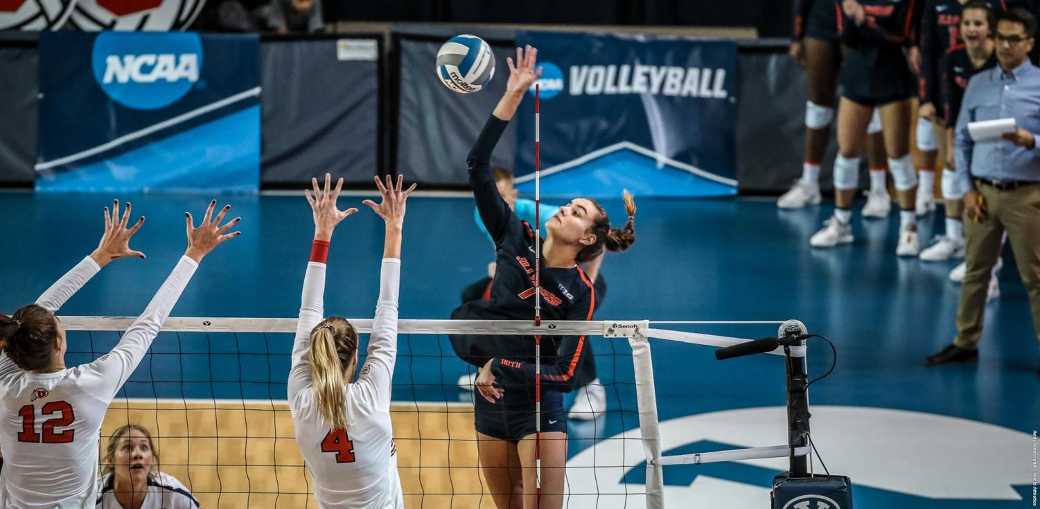Outside hitter Jacqueline Quade spikes the ball during the Illinois' game in Utah at Provo, Utah, Friday. The Illini's loss to the Utes in the first round of the NCAA tournament ended the team's season.