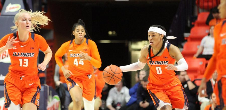 Petra Holešínská (13), Kennedi Myles (44) and J-Naya Ephraim (0) run down the court of the State Farm Center during Illinois'  game against Presbyterian. Illinois beat Presbyterian 71-52 on Saturday.