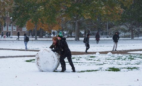 People make a Kirby snow sculpture on the Main Quad. Although holiday traditions can be fun, sometimes it's nice to take a break from cheery carols to do an alternate activity.