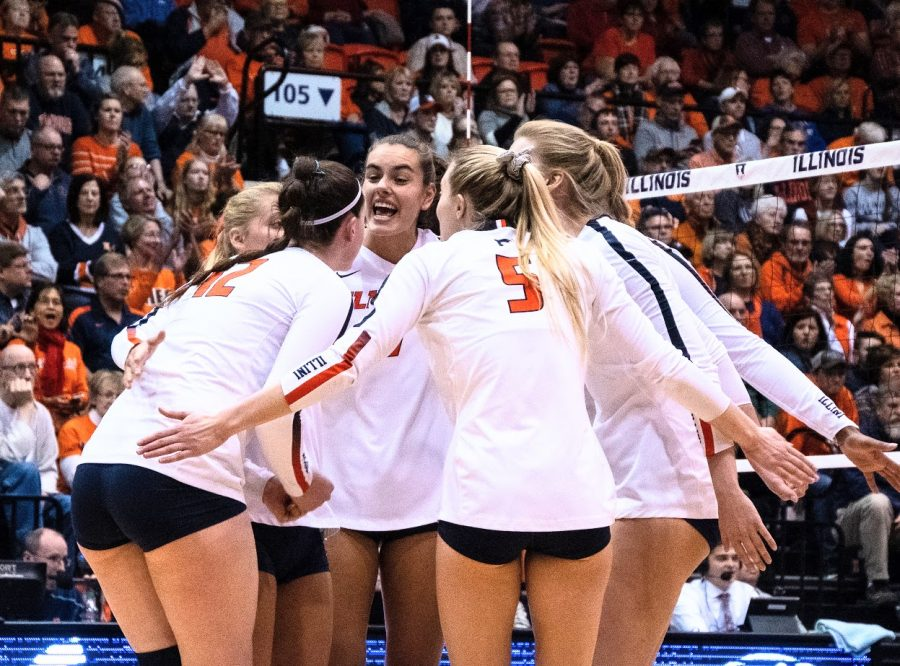 The Illini celebrate after scoring during Illinois' game against Penn State at Huff Hall on Nov. 16.