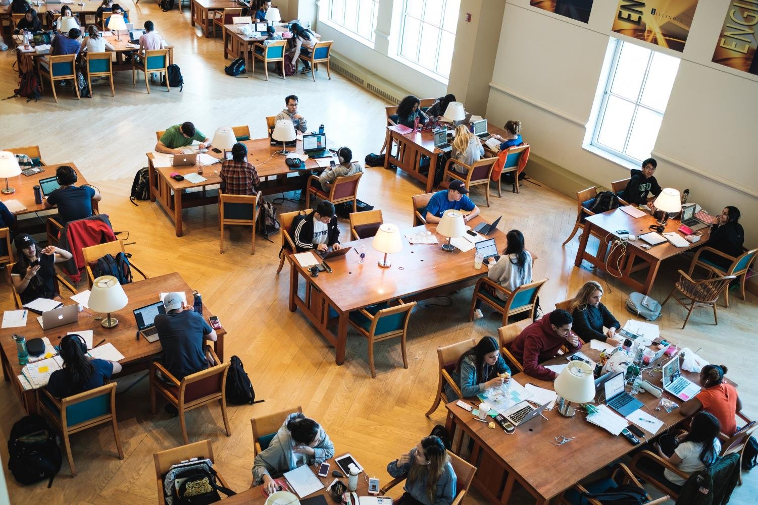 Students study for finals on the second floor of Grainger Engineering Library on May 6.