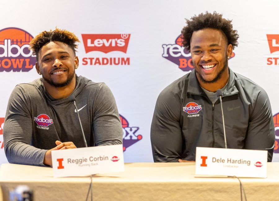 Seniors Reggie Corbin and Dele Harding speak at a Redbowl pre-game press conference in San Fransisco on Friday, Dec. 27. Corbin, Harding and the Illini will go head-to-head with the California Golden Bears in the Redbox Bowl on Monday, Dec. 30 at 3 p.m. CT. Photo taken by Jonathan Bonaguro.