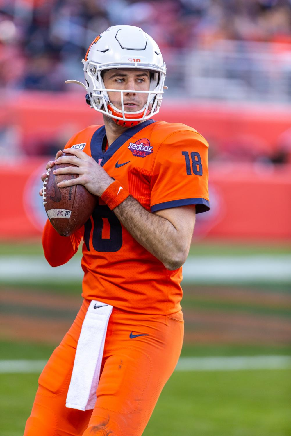 Quarterback Brandon Peters prepares to throw the ball during the Redbox Bowl in Santa Clara, Calif. Monday. Peters was an important piece in Illinois' offense during the bowl game against California on Monday.