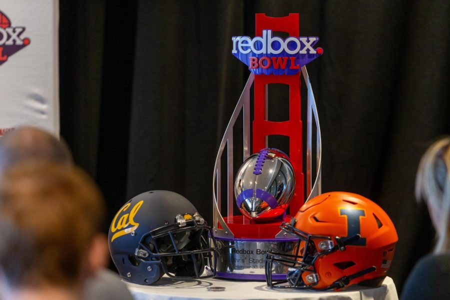 The 2019 Redbox Bowl trophy displayed at the Hyatt Regency in San Francisco during Illinois and California's pregame press conference on Dec.  27. Photo taken by Jonathan Bonaguro.