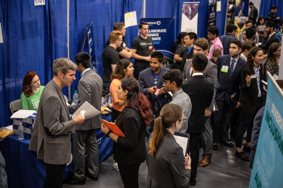 Engineering students talk to company representatives at the Engineering Career Fair at the ARC on Sept. 11, 2018. The unemployment rate has recently dropped to its lowed rate since 1969.