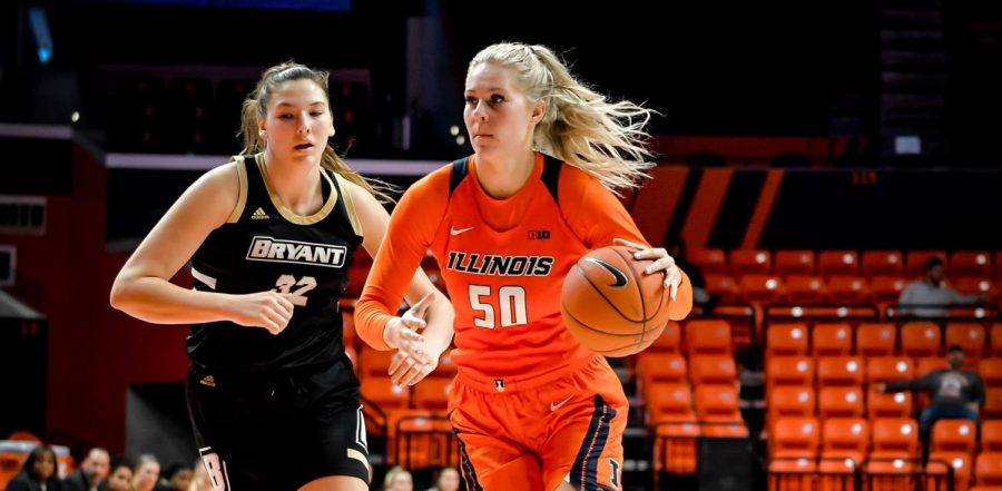 Forward Ali Andrews dribbles past a defender during a game against Ohio State on Sunday. Illinois fell to Ohio State 77-47.