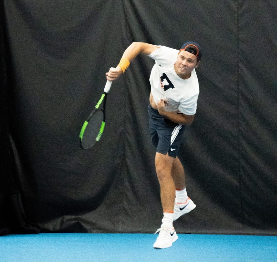Senior Aleks Kovacevic returns a ball during Illinois' match against Missisippi at the Atkins Tennis Center on Friday. The Illini took home several victories when they competed at the Martin Luther King Jr. Invitational Jan. 18-20 in Atlanta, Georgia.