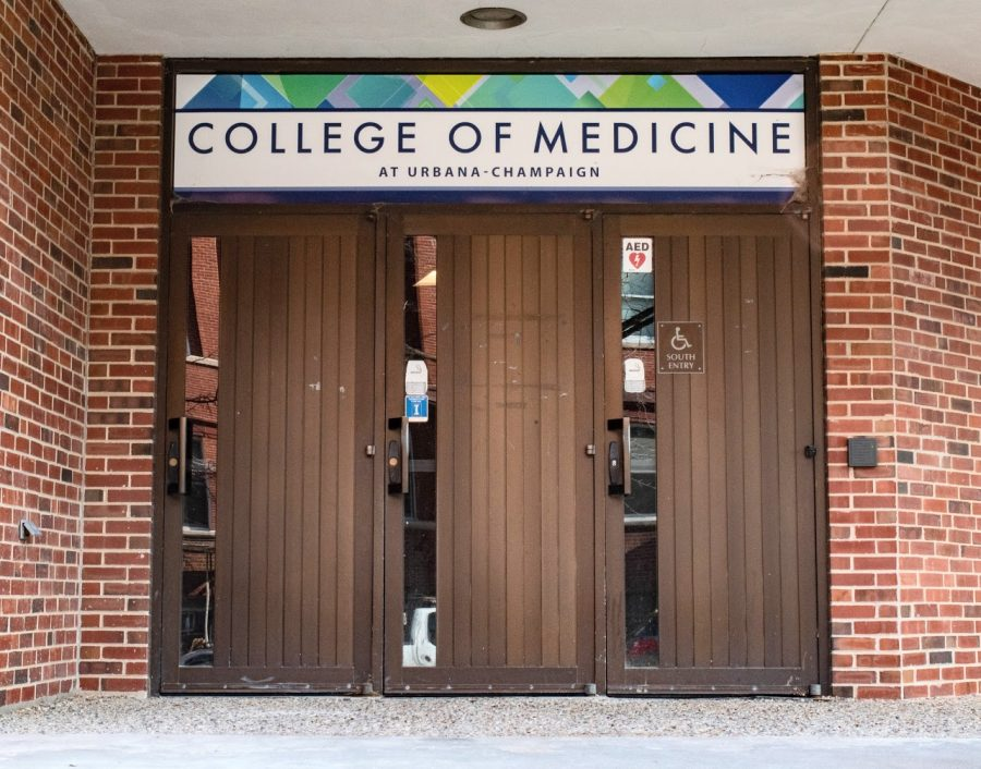 The front doors of the College of Medicine stand on 506 S. Mathews Ave. on Tuesday. Pre-med students face a lot of pressure to gain experience in their undergraduate years.