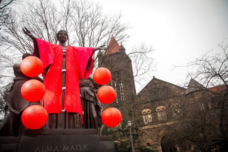 The+Alma+Mater+decorated+in+commemoration+of+Chinese+New+Year+on+Feb.+5%2C+2019.