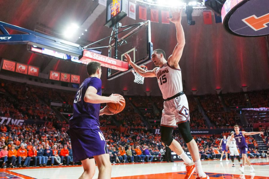 Sophomore+Giorgi+Bezhanishvili+defends+against+an+inbound+pass+during+Illinois%27+game+against+Northwestern+Saturday+at+the+State+Farm+Center.+Illinois+won+71-67.+Jonathan+Bonaguro+of+the+Daily+Illini.+