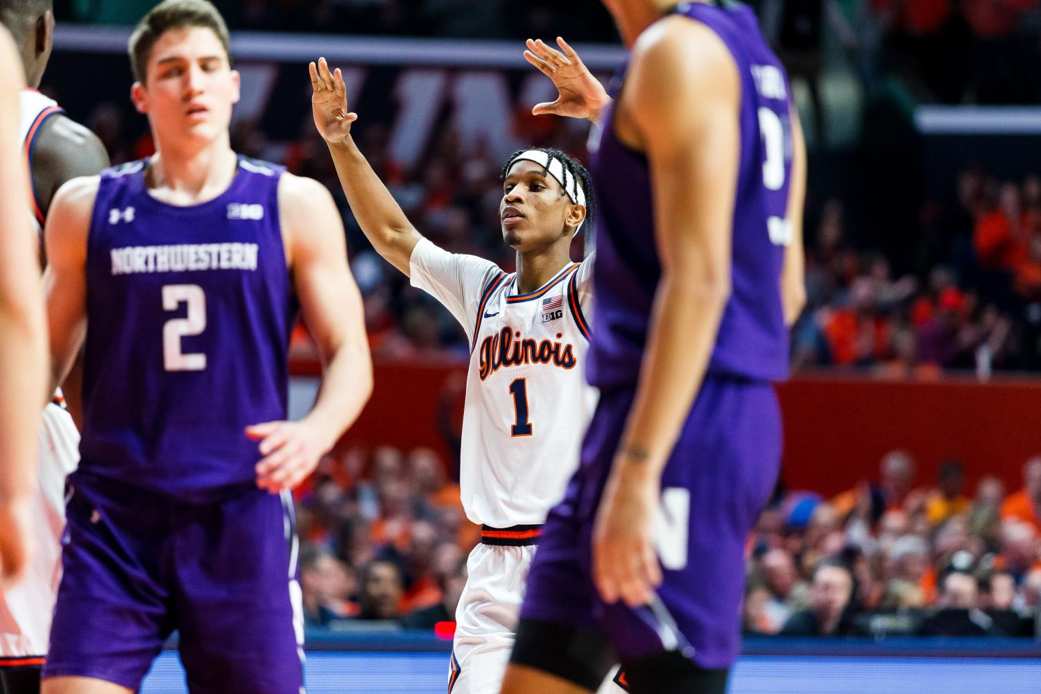 Junior Trent Frazier reacts to a foul call during No. 24 Illinois' game against Northwestern on Saturday. The Illini won 75-71 and improve to 5-2 in the Big Ten and 13-5 overall.