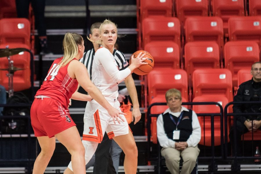 Petra Holesinska holds the ball away from an Austin Peay defender at State Farm Center on Nov. 13.