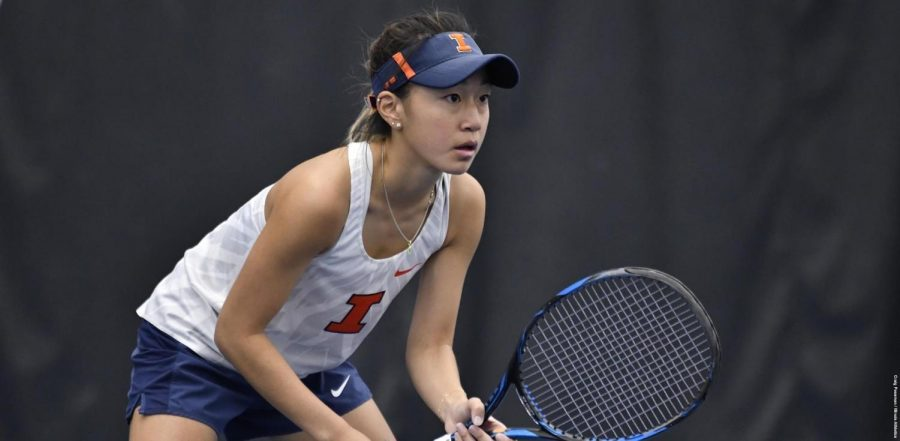 Junior+Asuka+Kawai+prepares+for+a+serve+at+the+Atkins+Tennis+Center+against+Eastern+Michigan+on+Sunday.