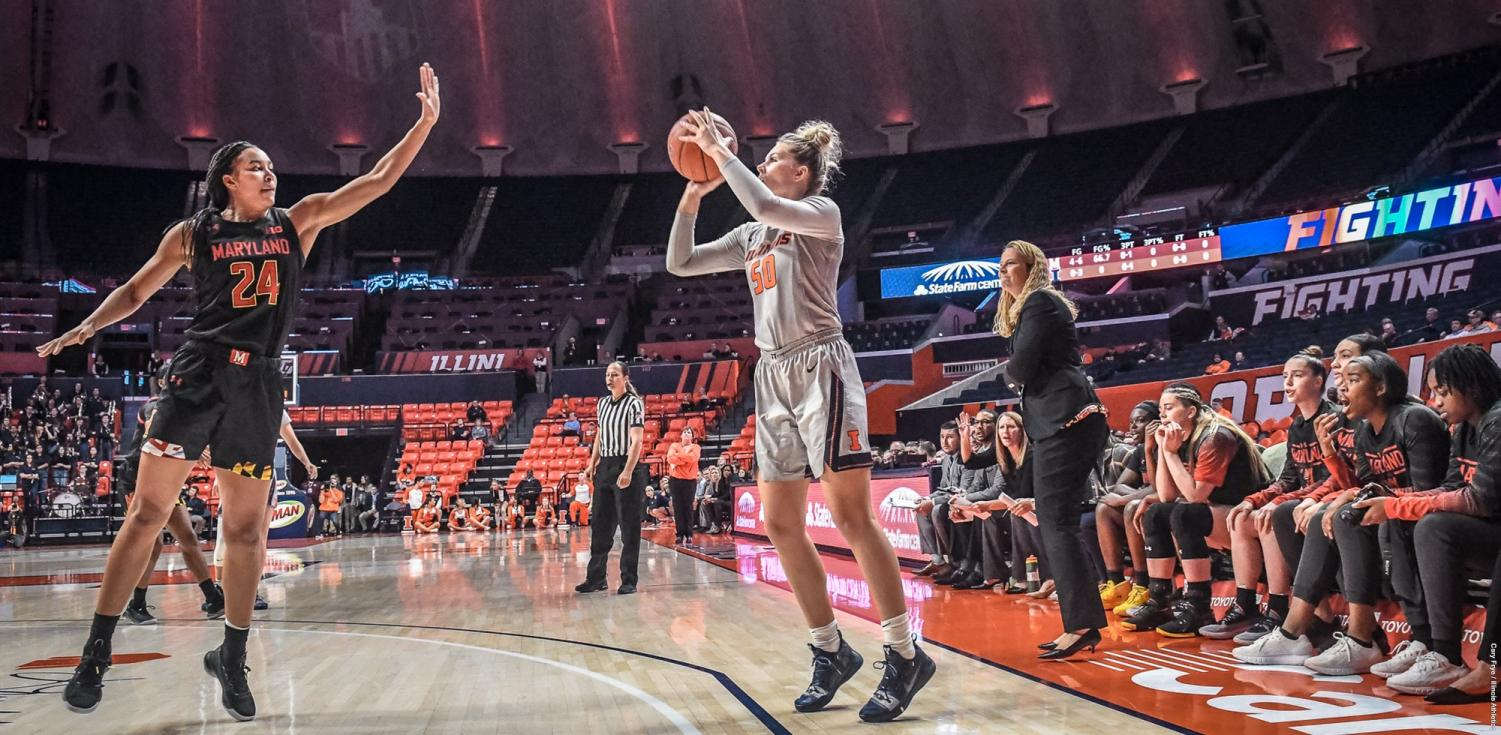 Ali Andrews shoots a three-point during the Illinois' game against Maryland at State Farm Center on Thursday.