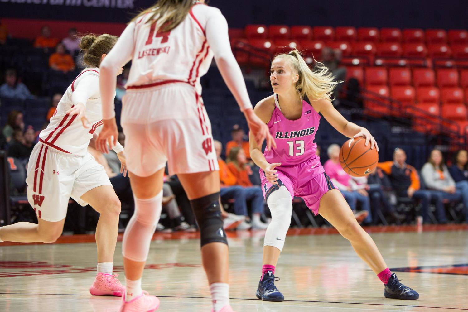 Redshirt-junior guard Petra Holešínská plants her feet during the game against Wisconsin on Sunday. The Illini lost the match 73-64. Illinois extended its losing streak to six games following its loss to Ohio State at home Thursday night. The Illini lost 78-58.