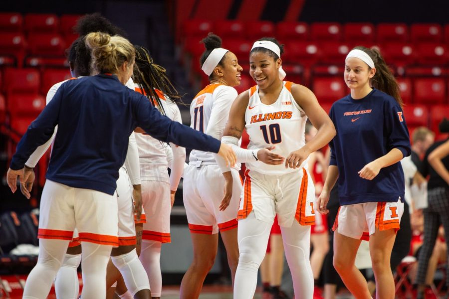 Illinois+freshman+Jeanae+Terry+celebrates+with+teammates+during+Illinois%27+game+against+Ohio+State+at+home+on+Feb.+6.+Thursday+night%2C+Terry+scored+a+career-high+15+points+against+No.+20+Indiana+at+home.+Illinois+lost+57-51.+