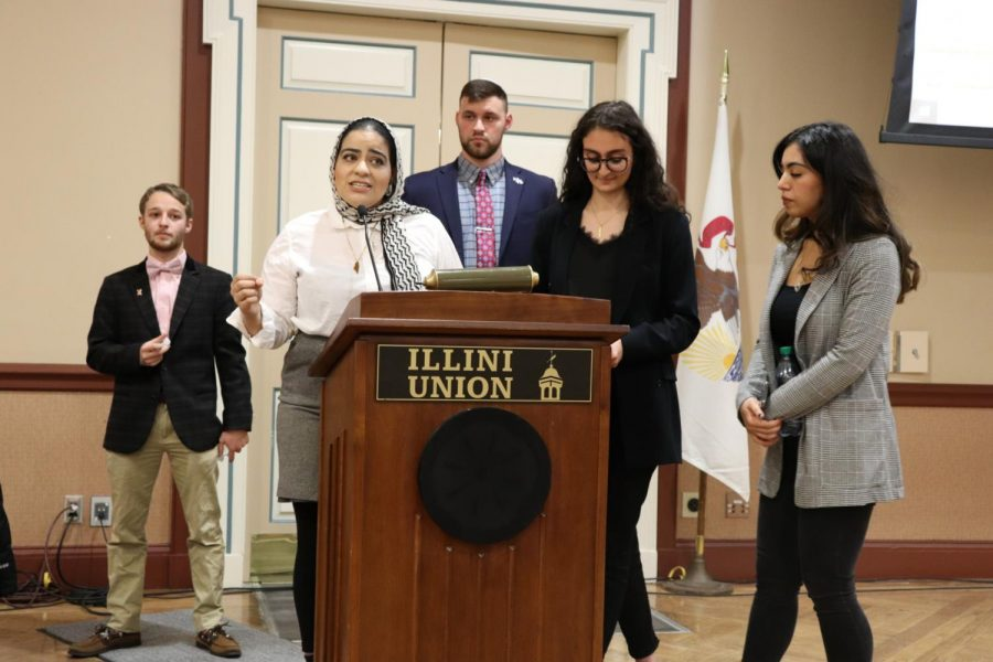 Dunia Ghanimah, senior in LAS and co-author of Illinois Student Government Resolution 03.61, presents her case for the resolution alongside authors Buthaina Hattab and Ahlam Hatib. Since its passing, the resolution sparked divided reactions and issues with voting records threaten to nullify the act.