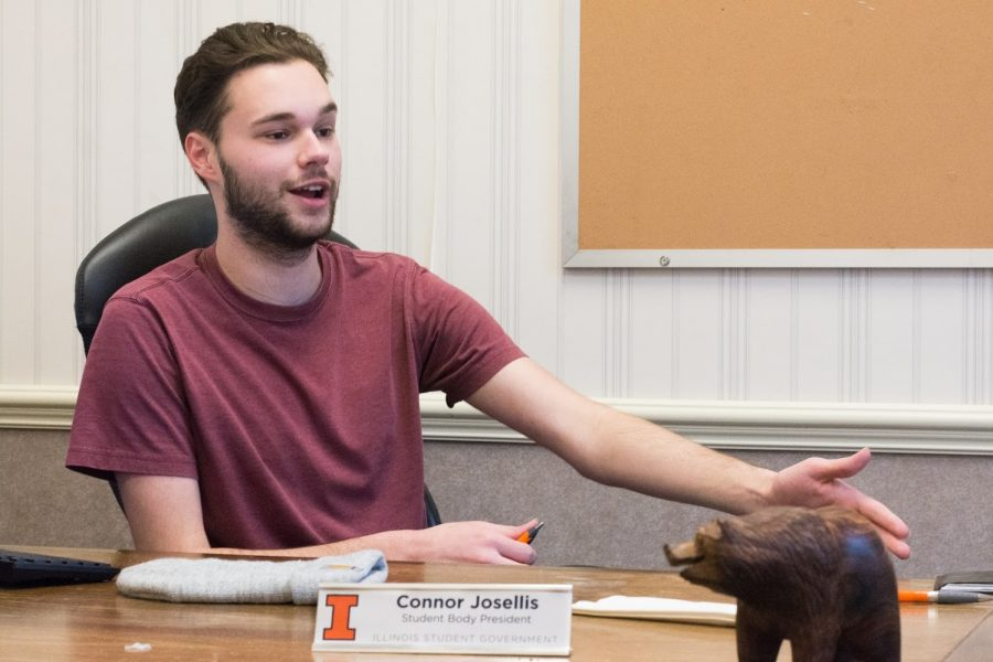 Student+Body+President+Connor+Josellis%2C+pictured+in+his+office+at+the+Illini+Union%2C+speaks+about+the+procedure+of+the+upcoming+Illinois+Student+Government+election+and+the+candidates+running+for+office.+He+suggests+running+an+in-person+and+online+campaign+to+reach+voters.+