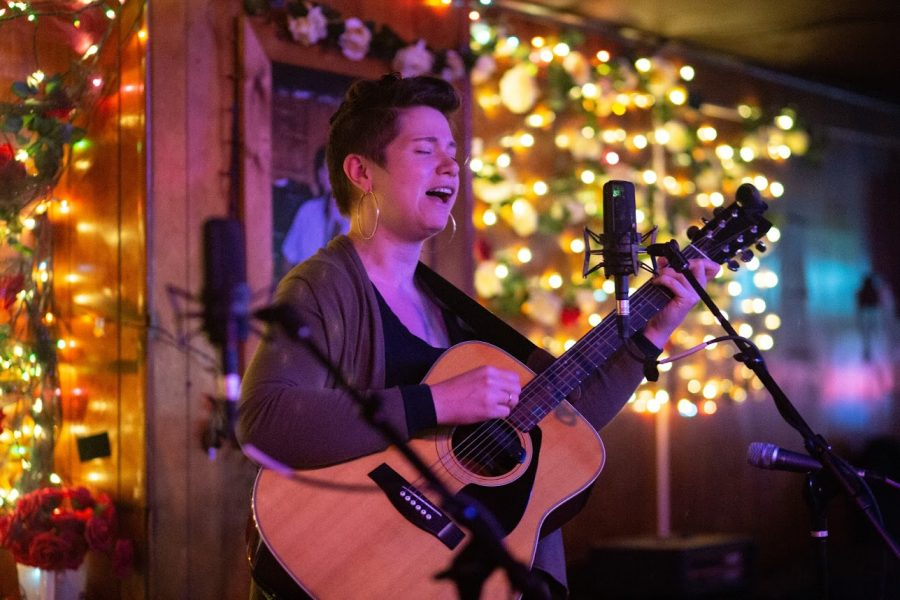 Emily McKown performing at the RoseBowl tavern on Monday.