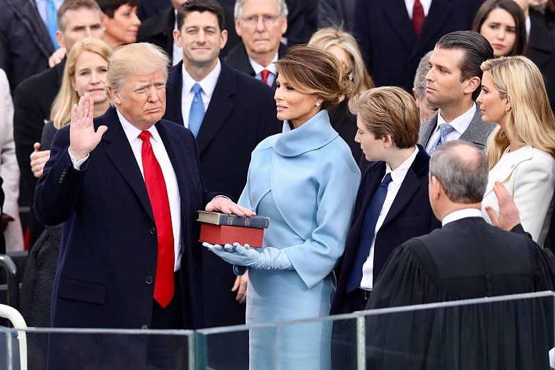 President Donald Trump sworn into office on Jan. 20, 2017 at the U.S. Capitol in Washington, D.C. Columnist Andrew draws attention to Trump's many mistruths since his inauguration.