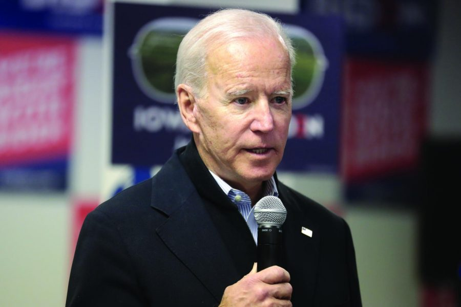 Former Vice President Joe Biden speaks with supporters at a phone bank at his presidential campaign office in Des Moines, Iowa, on Jan. 28. Columnist Dennis questions Biden's future.