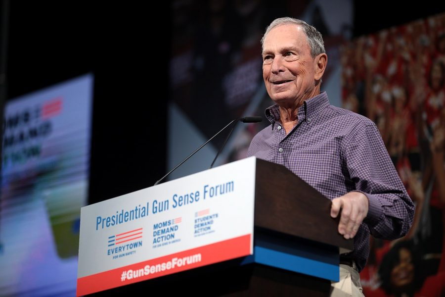 Presidential candidate Michael Bloomberg speaks at an Everytown for Gun Safety event in August 2019 in Des Moines, Iowa. Senior Columnist David shines a spotlight on Bloomberg's excessive campaign spending.