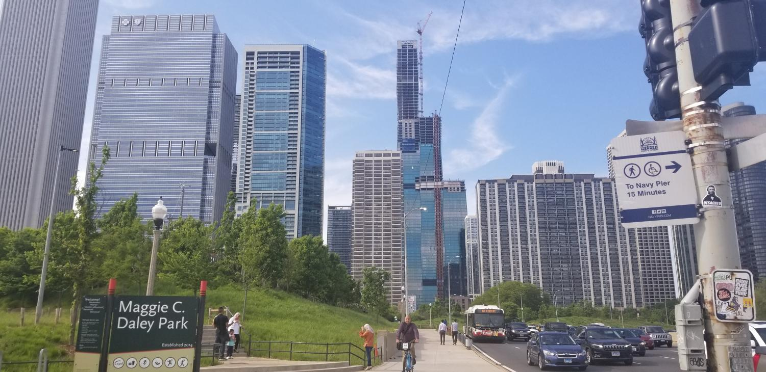 Construction on Vista Tower continues in downtown Chicago on June 4. Columnist Austin advocates for more housing developments, such as Vista Tower in place of rent caps to lower housing prices.